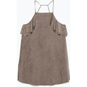 ZARA Olive faux suede thin strap frill tank top S